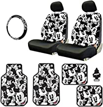 Yupbizauto Disney Mickey Mouse Design Sideless Low Back Car Seat Covers Floor Mats Steering Wheel Cover Accessories Set with Air Freshener