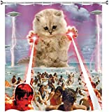 XCBN Lustige Tiere Duschvorhang Katze reitet einen Wal, um Muster zu bekämpfen Wasserdichtes Badezimmer Dekor Duschvorhang A6 180x200cm