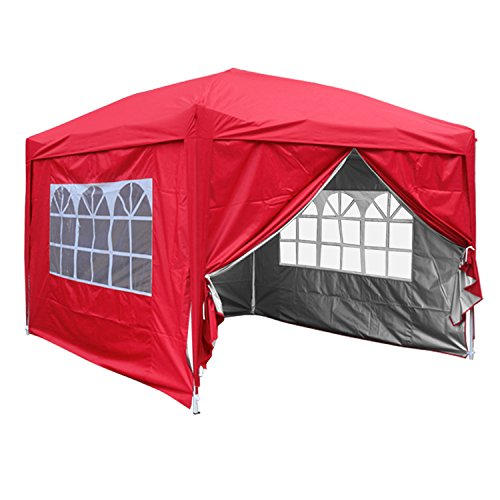 Greenbay Red Heavy Duty Pop-up Gazebo Marquee Canopy with 4 Side Panels and Carrybag - 3m x 3m