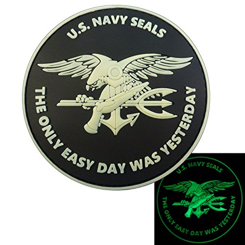2AFTER1 Glow Dark US Navy Seals The Only Easy Day was Yesterday DEVGRU Morale PVC Fastener Patch