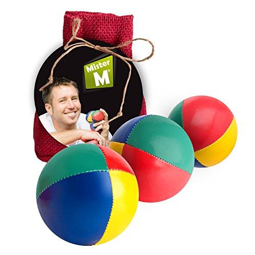 Palle da giocoleria  Approvato CE  il set complete da giocoliere composto da 3 palle con video tutorial online in sacco di juta beige - a cura di Mister M (Rosso, 3 Palle)