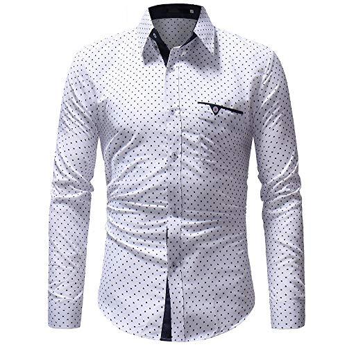 Stoota Men's Dress Shirt,Casual Formal Polka Dot Slim Fit Long Sleeve Top Blouse White