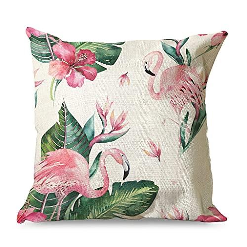 Gamoii Funda de cojín con diseño de hojas tropicales, hibisco y flamenco, de lino, con cremallera, para dormitorio, decoración blanca, 45 x 45 cm