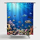 MitoVilla 3D Ocean Fish Shower Curtain Set with Hooks, Nature Scenic of Tropical Fish, Turtle, Shark in the Sea Bathroom Decor for Ocean Themed Home, Gifts for Women, Men and Kids, Blue, 72' W x 72' L