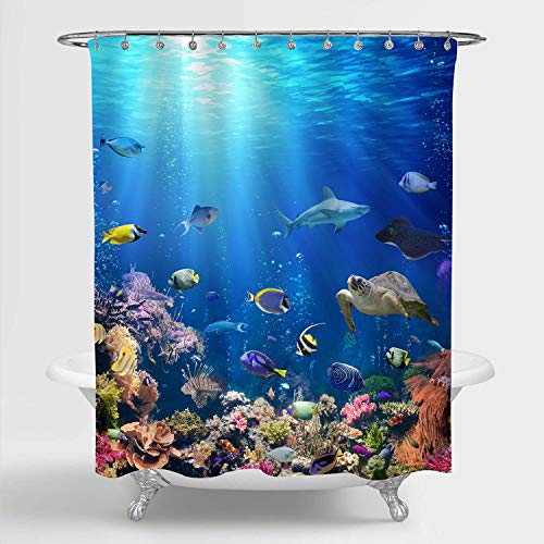 MitoVilla 3D Ocean Fish Shower Curtain Set with Hooks,...