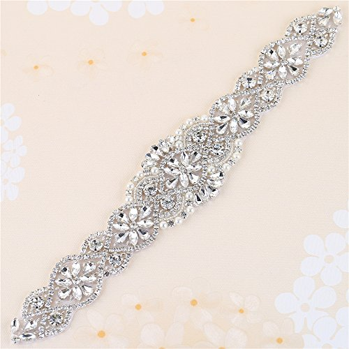 Crystal Rhinestone Appliques, 34.3 x 1.9 In, Pearls Beaded Embellishments Trim Handcrafted Elegant Sewing Hot fix for DIY Wedding Bridal Belts Sashes Prom Dresses - Silver