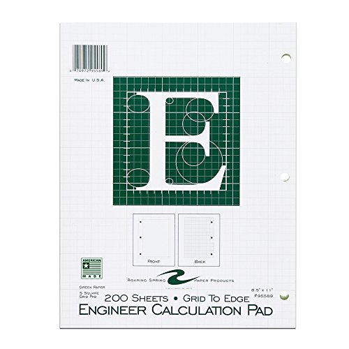 """Roaring Spring 5x5 Grid Engineering Pad, 15# Green, 3 Hole Punched, 8.5"""" x 11"""" 200 Sheets, Green Paper (Gride to Edge)"""