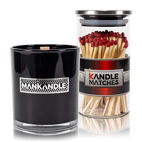 Majestic Zen's- ManKandle Scented Candle & Decorative Matches Gift Set for Men | Gift for Boyfriend | Gift for Dad | Gifts for Husband | Birthday Gifts for Men | Gifts for Fathers | Gifts for Guys