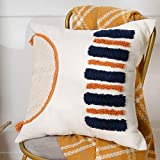 Orange and Navy Blue Kid Pillow Cover Decorative Boho Tufted Throw Pillow Case for Couch Sofa Playroom Nursery, Cute Fun Bohemian Woven Square Pillowcase Small 18x18 Inch, Linen Cotton