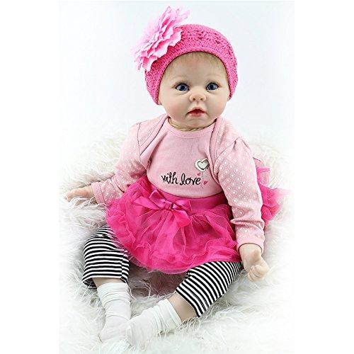 Nicery Doll Reborn Babypuppe Weich Silikon Vinyl für Jungen und Mädchen Geburtstagsgeschenk 50-55cm Dolls gx55-37de