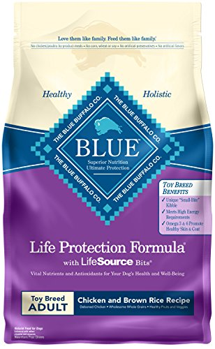 Blue Buffalo Life Protection Formula Toy Breed Dog Food Natural Dry Dog Food for Adult Dogs Chicken and Brown Rice 4 lb. Bag