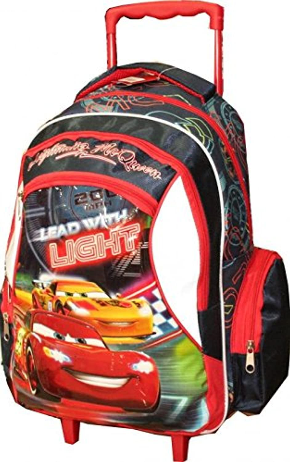 Cars  Huge School Backpack On Wheels LIGHTNING Mc QUEEN 18x12x8 Inch. Handles 2014 New Blistered