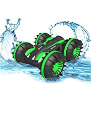 EleCart Amphibious Remote Control Car for Kids 2.4 GHz RC Stunt Car for Boys Girls 4WD Off Road Monster Truck Birthday Gifts Remote Control Boat Beach Toy (Green)