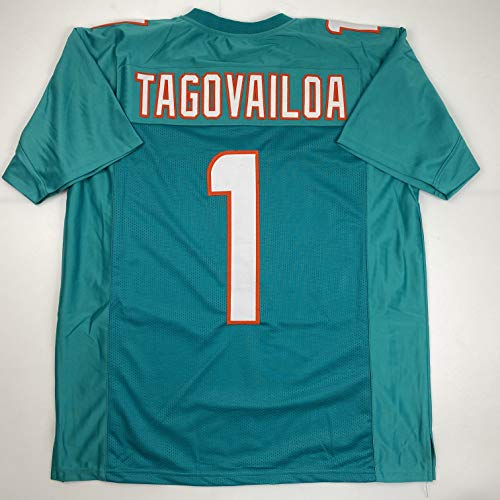 Unsigned Tua Tagovailoa Miami Teal Custom Stitched Football Jersey Size Men's XL New No Brands/Logos