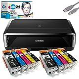 Canon PIXMA IP7250 Tintenstrahldrucker + USB Kabel & 10 kompatible Druckerpatronen der Marke ink24...