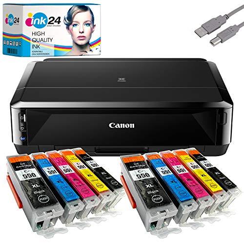 Canon PIXMA IP7250 Tintenstrahldrucker + USB Kabel & 10 kompatible Druckerpatronen der Marke ink24 (Drucken per USB oder WLAN) /OHNE Originalpatronen