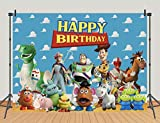 Toy Story Theme Happy Birthday Party Photography Backdrops Blue Sky White Clouds Indoor Banner 5x3ft Kids Birthday Party Photo Background Cake Table Decoration Supplies Studio Booth Props