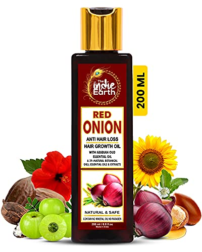 THE INDIE EARTH RED ONION ANTI HAIR LOSS & HAIR GROWTH OIL WITH PURE ARGAN, JOJOBA, ROSEMARY, BLACK SEED OIL IN PUREST…