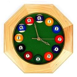 Trademark Octagonal Wood Billiards Quartz Wall Clock