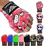 Boxing Hand Wraps Bandages Fist Inner Gloves Muay Thai Pairs, 11 Colors (137 Inches, Hello Kitty)