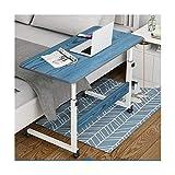 ABD Mesa de sobrecama con ruedas sobre la cama, mesa de ordenador portátil, sofá, mesa de altura lateral, soporte para ordenador portátil, portátil, escritorio (color: grano de madera azul 80 x 40 cm)
