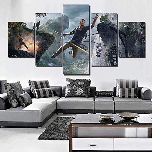 wodclockyui 5 Piezas Cuadro de Lienzo - Película Uncharted Pintura 5 Impresiones de imágenes Decoración de Pared para el hogar Pinturas y Carteles de Arte HD 200cmx100cm Sin Marco