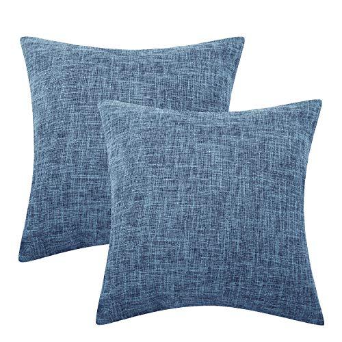 Lewondr Funda de Almohada de Lino Fino, Set de 2 Cuadrado Suave Tejido Fino Almohada Cubierta de Color sólido para Sofá Cojín Decoración 18 x 18 Inch - Azul