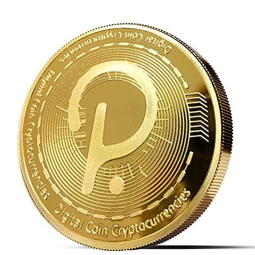Physische Bitcoin Medaille mit 24-Karat Echt-Gold überzogen | Viele weitere Kryptowährungen als Medaille (Polkadot, Gold)