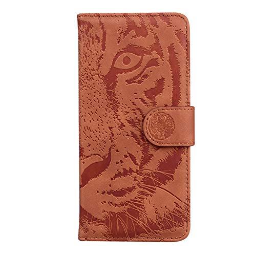 HICYCT Funda iPhone 7 Plus / 8 Plus, Tigre en Relieve Anti-caída Flip Wallet Case Cover Carcasa Piel PU Billetera con Soporte Cierre magnético Ranuras para Tarjetas para iPhone 8 Plus - Marrón