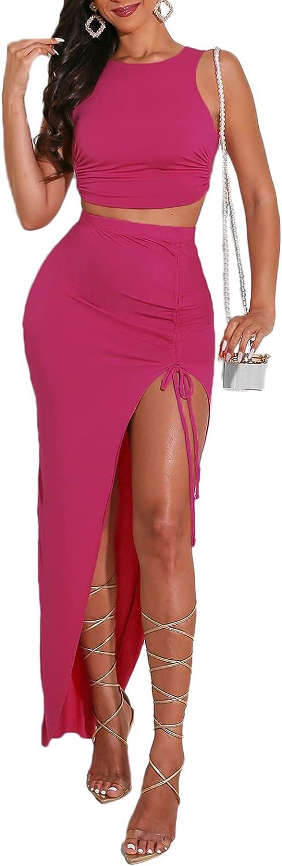 Women's Sexy Sleeveless Bodycon Split Outfits Tank Top Maxi Skirt 2 Piece Dress