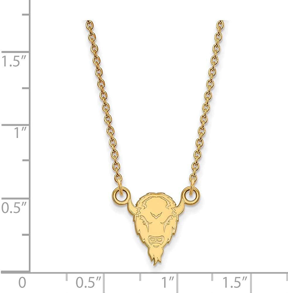 with Secure Lobster Lock Clasp Width = 10mm 925 Sterling Silver Yellow Gold-Plated Official Marshall University Small Pendant Necklace Charm Chain