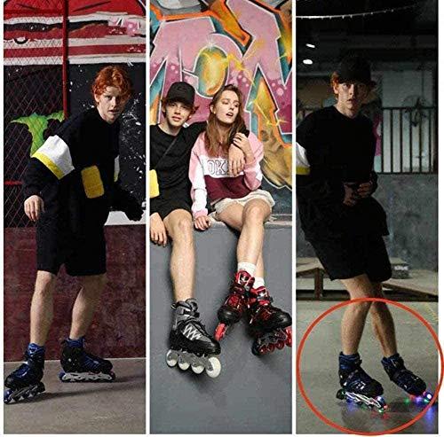 XIUWOUG Children Men Women Inline Skates ABEC-7 Chrome Ball Bearing 30-41 Adjustable Unisex Fitness Skates for Adults Beginners Girls Boys 8 LED Flashing Wheels,Blue,M 34_37