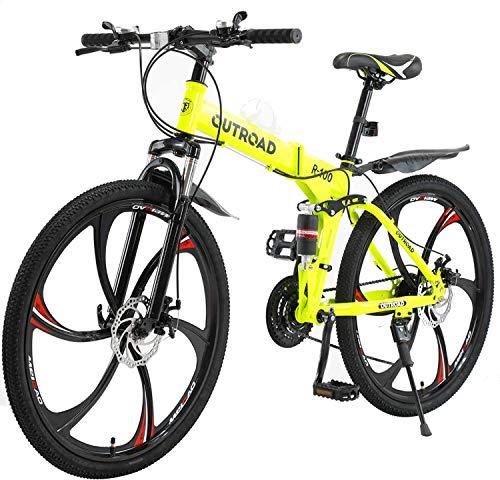 PanAme 26 Inches Folding Mountain Bikes, 21 Speed 6-Spoke Shining SYS Double Disc Brake, Full Suspension Anti-Slip Bicycle for Man/Woman/Teen, Yellow