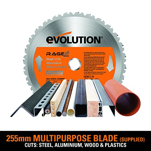 Evolution RAGE3+ Multipurpose Sliding Mitre Saw 255 mm With Accessory Pack (110 V)