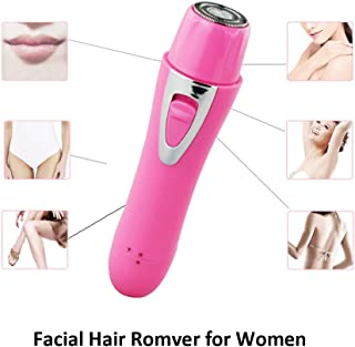 Vefoo Facial Hair Remover for Women, 4 in 1 USB Ladies Electric Shaver Waterproof Eyebrow & Nose Trimmer, Bikini Trimmer Electric Shaver Cordless