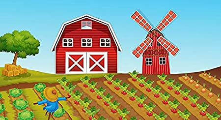 zk341,10x6.5ft Red House Windmill Presentation Background Farm Backdrops for Photography