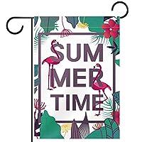 ガーデンフラグウェルカムバナーフラグヤードガーデン屋外装飾オールシーズンの垂直両面アートフラグフラミンゴとの夏の時間バナー