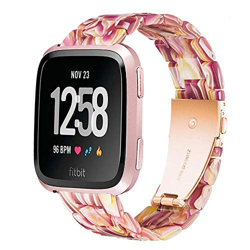 Ayeger Band Replacement for Fitbit Versa/Versa 2 Smart Watch/Special/Lite Edition, Fashion Resin Wristbands Women Men Replacement Bracelet Metal Stainless Steel Rose Gold Buckle(Red)