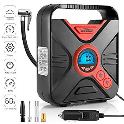 WindGallop Portable Air Compressor Tire Inflator Air Pump for Car Tires DC 12V Tire Pump with Gauge Valve Adaptors LED Light for Automobiles Bike Motorbike Basketball Inflatables (Red)