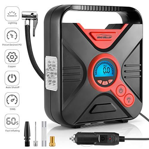 WindGallop Luftkompressor 12V Kompressor Auto Luftpumpe Autoreifen Pumpe Mobile Kompressoren Luftpumpen Kfz Kompressor Luftpumpe Fahrrad Elektrisch mit Ventiladaptern, Manometer und LED-Licht (Rot)
