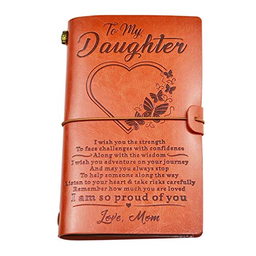 """Tagebuch aus Leder mit Aufschrift """"To My Daughter"""" von Mom – I Am so Proud of You, 136 Seiten, 20 x 12 cm, geprägtes Vintage-Design, nachfüllbar, für Abschlussfeier, Weihnachten, Geburtstage"""