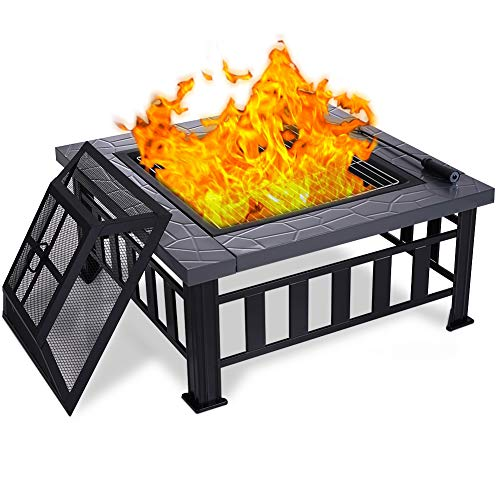 Ezcheer 34' Outdoor Fire Pit 3 in 1 Metal Square Firepit Wood Burning Bonfire Stove for Backyard Patio Garden with Grill, Spark Screen, Log Poker, Cover