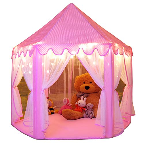 Image of Monobeach Princess Tent Girls Large Playhouse Kids Castle Play Tent with Star Lights Toy for Children Indoor and Outdoor Games, 55'' x 53'' (DxH)