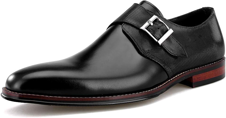 StickSeek New Summer Design Genuine Leather Men's Derby Formal Dress Oxfords Breathable Man Buckle Strap shoes
