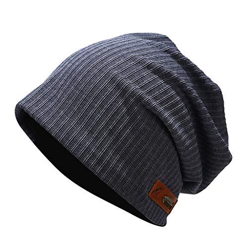 Havecolor Caps Unisex Beanie Cap Kopfbedeckung Mützen Dünn stylisch Reise Outdoor Freizeit Biker Hat für Winter (Marine)