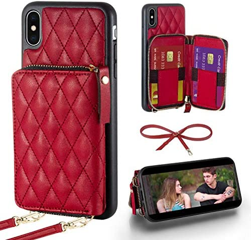 LAMEEKU iPhone Xs Wallet Case iPhone X Quilted Leather Wallet Case Card Holder Case with Lanyard product image