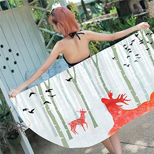 BCDJYFL Impresas Toalla De Playa Cervatillo del Bosque Toallas De Playa Microfibra Toallas De Yoga para Exteriores Suaves Y Absorbentes.70X150Cm