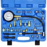 YSTOOL Fuel Pressure Tester Gauge Kit 140PSI Automotive Engine Injector Pump Test Gasoline Gas Injection Manometer Tool Set with Inline Fitting Schrader Adapter for Auto Car Motorcycle (Blue Case)