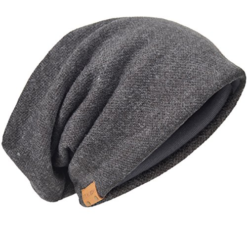 bergroße Herren Strickmütze Baggy Slouchy Schädel-Kappe Mütze B011s, 010b-Grau, M