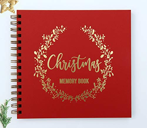 Christmas Memory Book Modern Gold Foil Embossing, Christmas Scrapbook Album 9' x 8.5', 90 Kraft Blank Pages, to Record Christmas Recipes and Christmas Traditions (Red/Gold_SA)